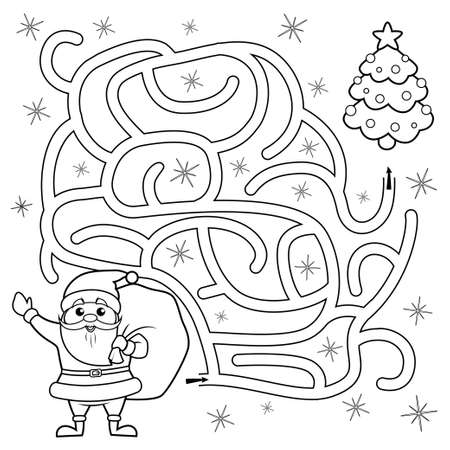 Help Santa Claus find path to christmas tree. Labyrinth. Maze game for kids. Black and white vector illustration for coloring book 向量圖像