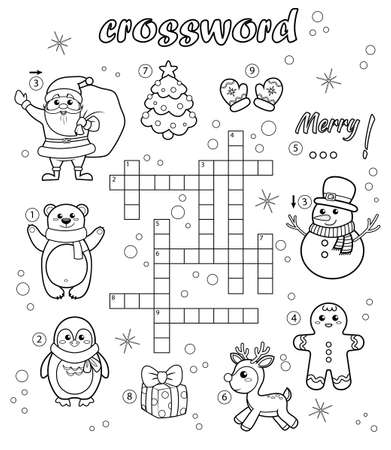 Crossword puzzle game of Christmas and New year theme. Black and white vector illustration for coloring book 向量圖像