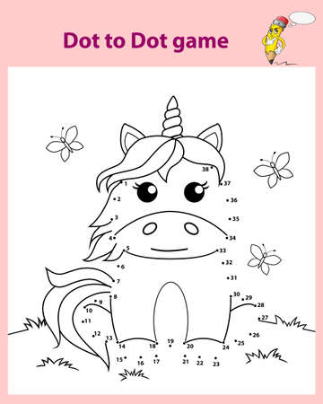 Cute cartoon sitting unicorn. Dot to dot game. Black and white vector illustration for coloring book 向量圖像