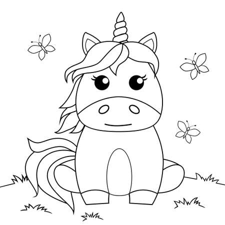 Cute cartoon sitting unicorn. Black and white vector illustration for coloring book