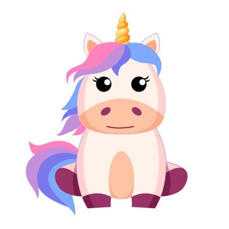 Cute cartoon sitting unicorn. Vector illustration isolated on white background