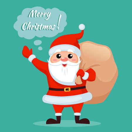 Santa claus with Christmas gifts bag and saying Merry Christmas and Happy New Year