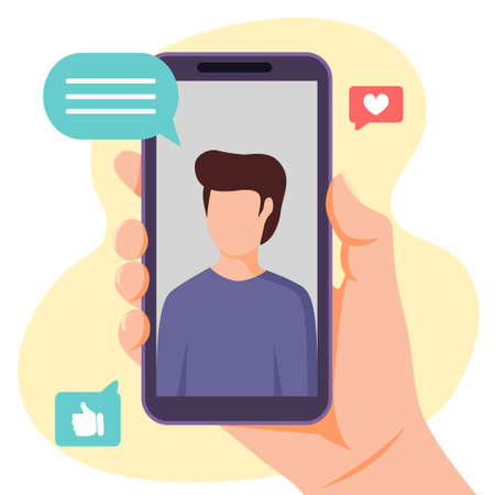 Video call with young man. Hand holding smartphone with boy on screen. Flat vector illustration