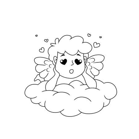 Cute cartoon Cupid in love dreaming on cloud. Illustration for a Valentine's Day. Black and white vector illustration for coloring book 向量圖像