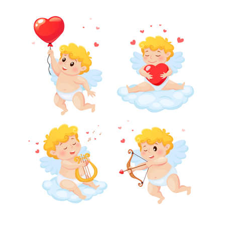 Set of cute cartoon Cupids. Illustration for a Valentine's Day 向量圖像