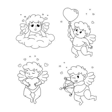 Set of cute cartoon Cupids. Illustration for a Valentine's Day. Black and white vector illustration for coloring book 向量圖像