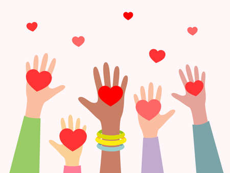Hands with hearts. Concept of volunteering, charity and donation. Give and share your love