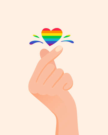 Korean symbol of love. Hand make heart sign with LGBT rainbow color. Pride concept