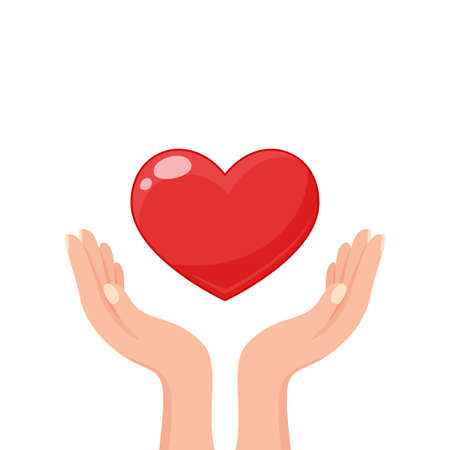 Hands holding heart. Concept of volunteering, charity and donation. Give and share your love 向量圖像