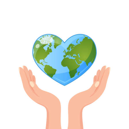 Hands holding Earth in heart shape. Save our planet. World Environment day or Earth day concept 向量圖像