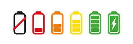 Set of battery charge level indicator. Vector illustration isolated on white background 向量圖像