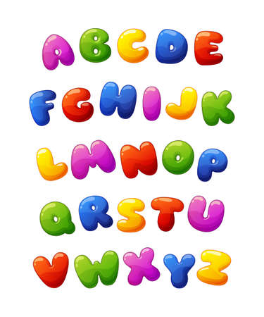 Cute cartoon glossy colorful alphabet. Vector font for kids isolated on white background
