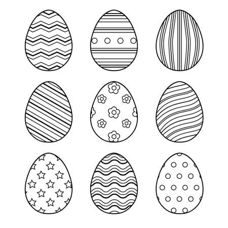 Set of Easter eggs with different texture. Happy easter. Black and white vector Illustration isolated 일러스트