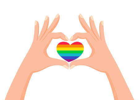 Hands make heart signwith LGBT rainbow color. Love is love. Pride concept. Vector illustration