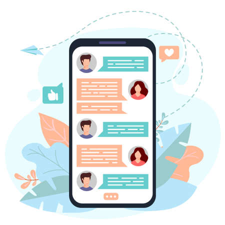 Phone with messages on screen. Chatting with friends in mobile application. Communication concept. Vector illustration 矢量图像