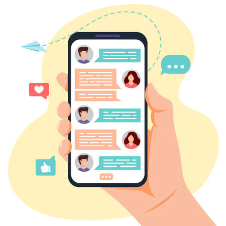 Hand holding phone with messages on screen. Chatting with friends in mobile application. Communication concept. Vector illustration