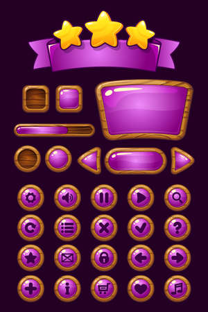 GUI wooden buttons with glossy effects. Game elements