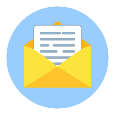 Email Icon. Open envelope with letter. Mail and messaging icon in flat style