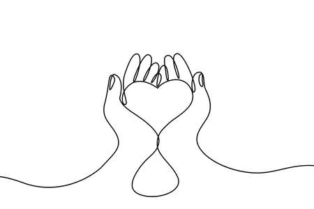 Continuous drawing line art of heart in hands. Hand drawn one line. Concept of volunteering, charity and donation. Give and share your love