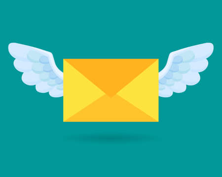 Flying email icon. Envelope. Mail and messaging icon with wings