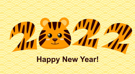 Sign 2022 with tiger face. Simbol of chinese new year