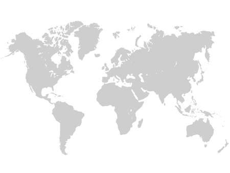 World map in gray color on white background