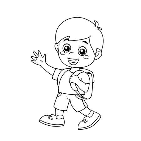 Boy with school bag. Back to school concept. Black and white vector illustration for coloring book
