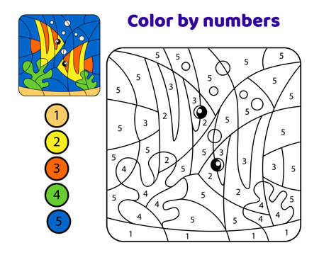 Fish in the underwater world. Color by numbers. Black and white vector illustration for coloring book with color example