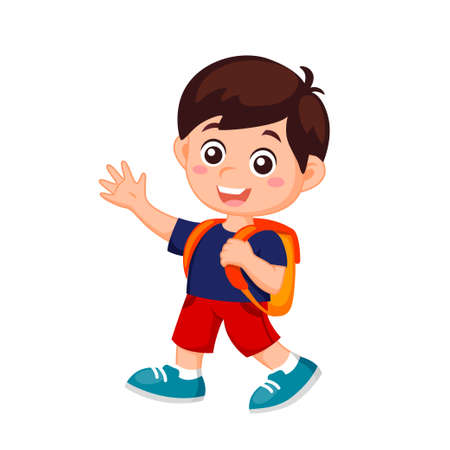 Boy with school bag. Back to school concept. Vector illustration isolated on white background 矢量图像