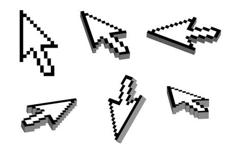 Arrow cursor with 3D effect in six different view angles