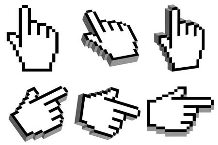 Hand cursor with 3D effect in six different view angles Vector