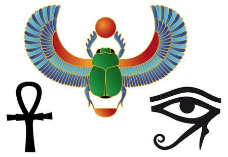 scarabeo: Egiziano icone  Vettoriali