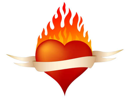 burning heart: Burning heart Illustration