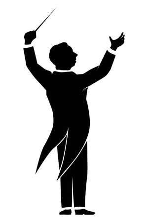 orquesta: Vector silueta de un director de orquesta