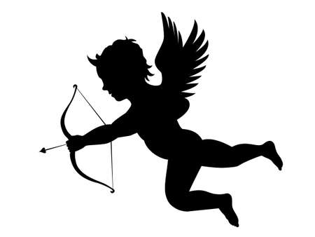 Illustration of cupid with bow and arrow. Illustration