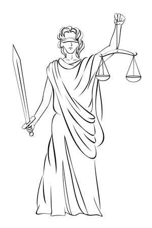 Vector illustration of Lady Justice Illustration