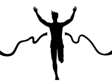 Silhouette of a man running thru the finish line Illustration