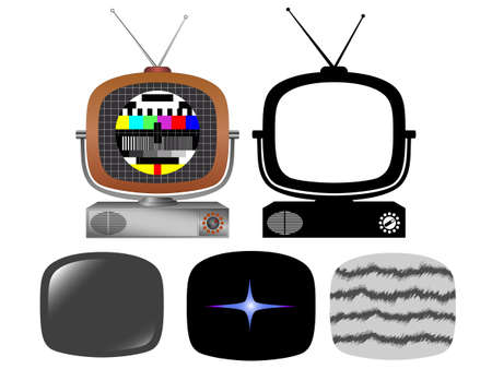 Retro tv with different screens and silhouette