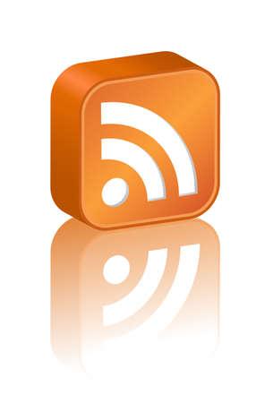 syndication: 3D icono de RSS