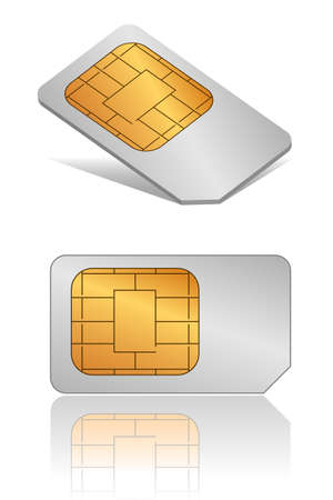 gsm phone: Vector SIM card in different view angles Illustration