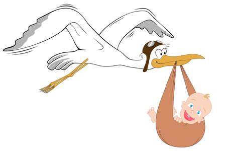 cigogne: Cigogne avec b�b�