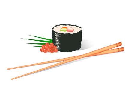 sushi roll: Illustrazione di un sushi roll e bastoncini  Vettoriali
