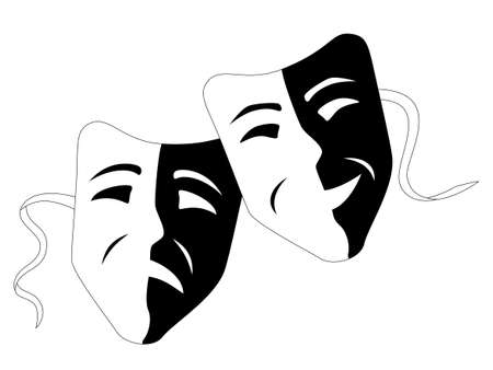 comedy: Theater masks comedy tragedy Illustration