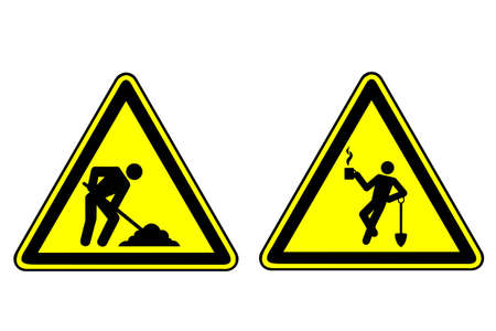 vector sign under construction: Another variation of a construction sign Illustration