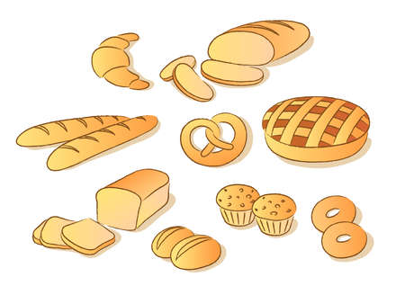 Bakery clip art set. Sketch style Illustration