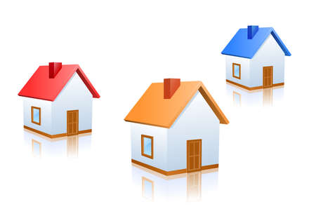 Vector house icons with different colored roofs. Illustration