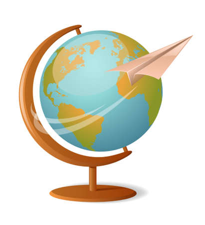 paper flying: Vector illustration of a globe with paper plane