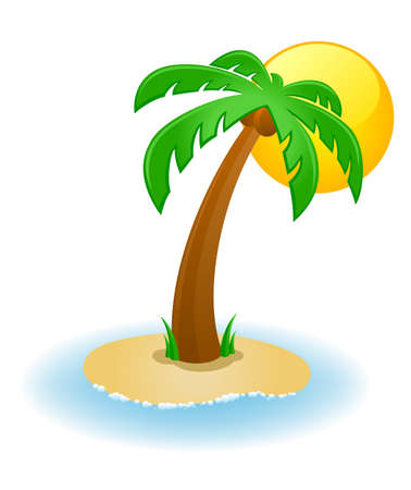 Vector illustration of a palm tree on a small island Vector