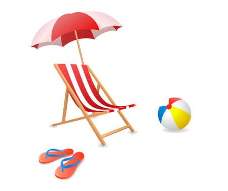 Ilustración vectorial de una silla de playa con sombrilla.
