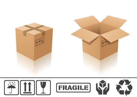 close icon: Vector illustration of cardboard box. Closed and open Illustration